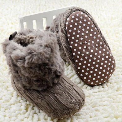 Infant Furry Booties - Crochet Knit Fleece Baby Shoes For Boys Girls