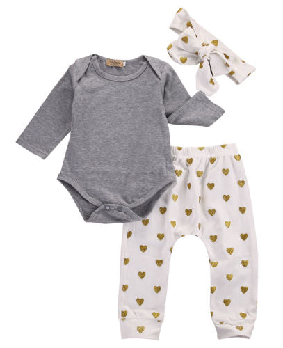 Long Sleeve Romper + Heart Pants + Heart Headband Baby Set