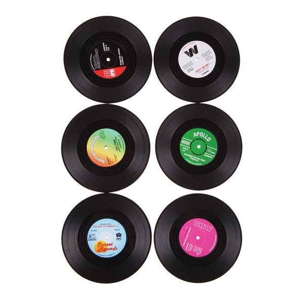 Set of 6 Colorful Silicone Vinyl Record Disk Coasters