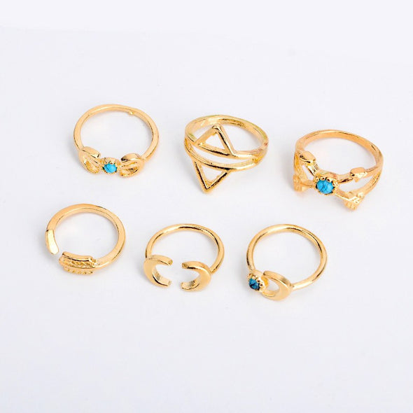 6PC/SET Indian Ethinc Vintage Silver Or Gold Plated Finger Rings