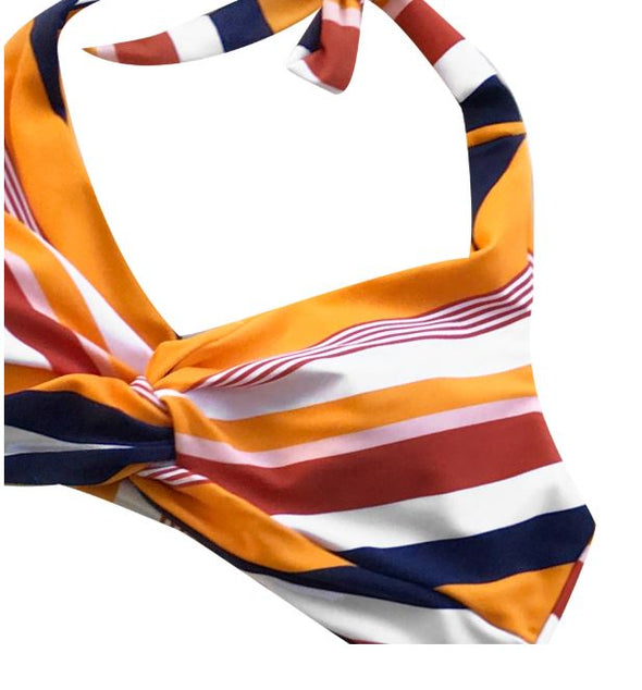 NAVY AND ORANGE STRIPED TWIST HALTER BIKINI
