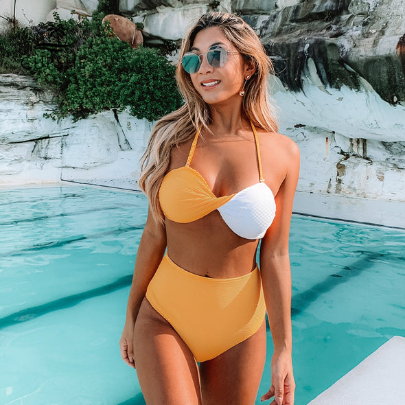 YELLOW AND WHITE COLORBLOCK TWIST BANDEAU BIKINI
