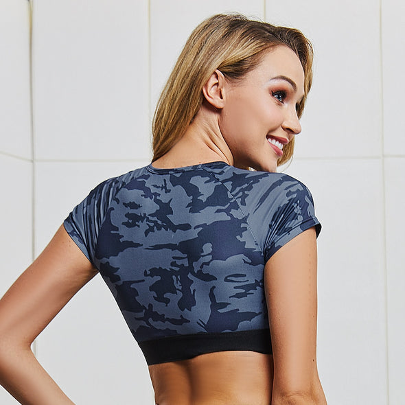 Andrea - Camouflage Gym Set Leggings + Cropped Shirt Sports Active Wear
