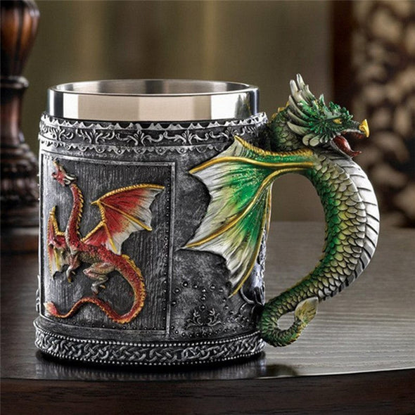 Stainless Steel 3D Dragon Mug - 350ML