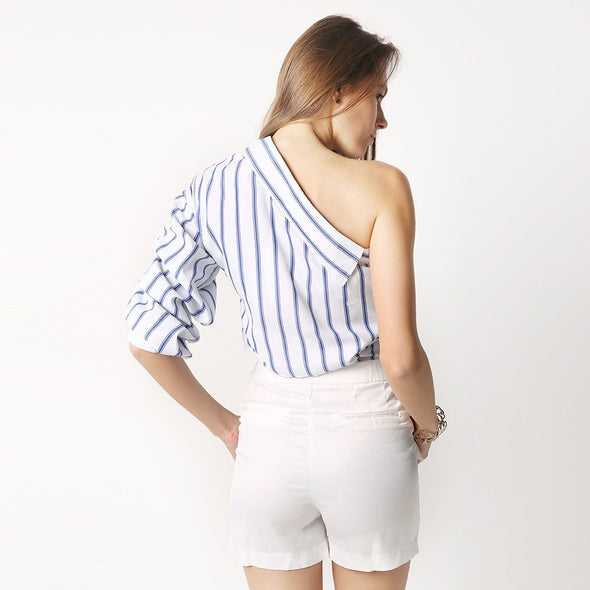 HDY Striped One Shoulder V-neck