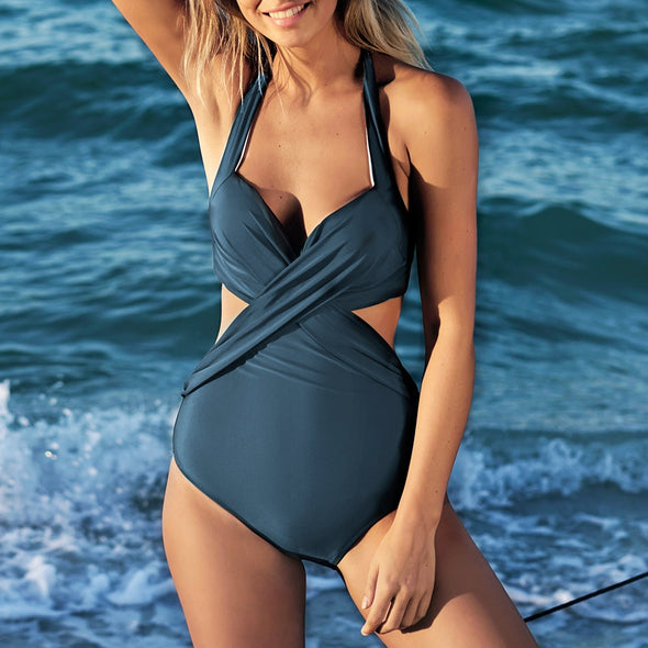 Artistic Temperament Crisscross Halter One-piece Swimsuit