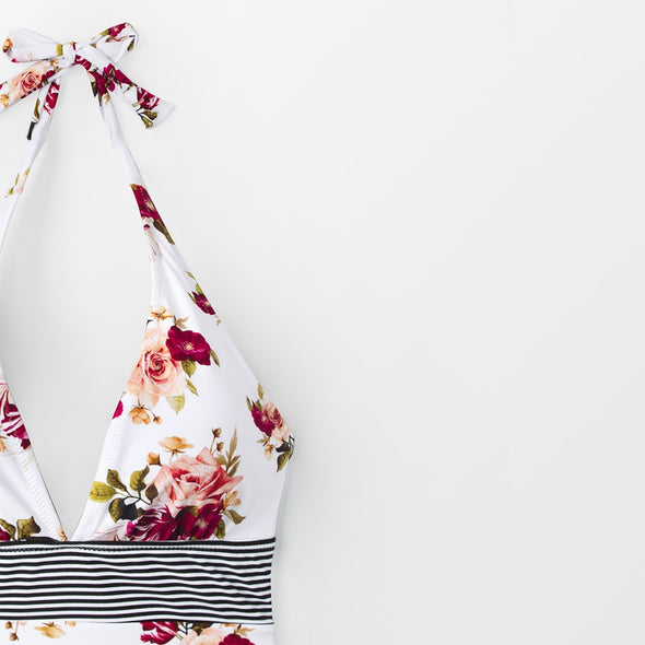 MID-SUMMER FLORAL HALTER ONE-PIECE SWIMSUIT