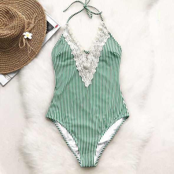 WISH YOU WELL LACE DEEP V NECK ONE-PIECE SWIMSUIT