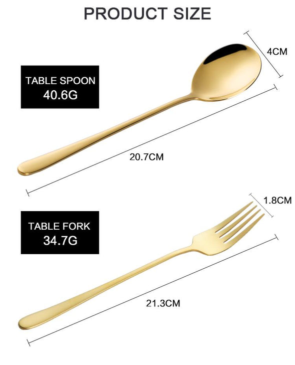 2 pc Korean Soup Spoon Dinner Spoon and Fork Set of 18/10 Stainless Steel Gold Spoon Dinnerware Set Long Spoon Handle Spoons Black