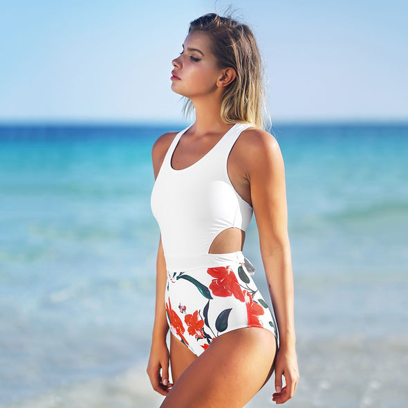 MISS U PRINT BOW TIED ZIPPED CUT OUT ONE-PIECE SWIMSUIT