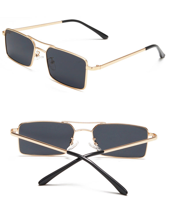 Maia - Retro Vintage Flat Top Metal Sunglasses