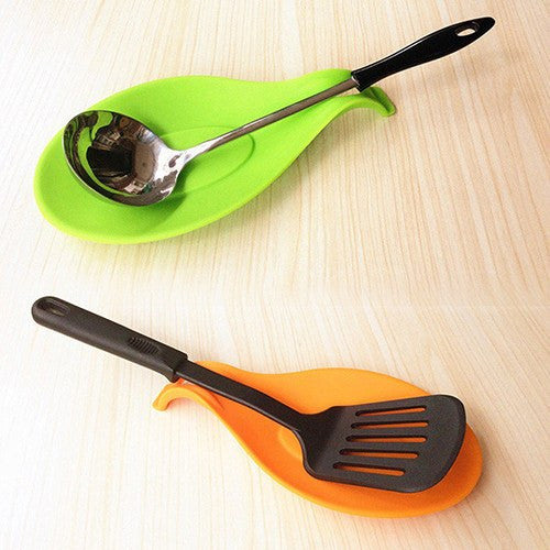 Heat Resistant Silicone Spoon Rest Utensil Spatula Holder Kitchen Tool