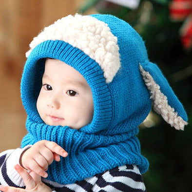 Baby Unisex-Warm Puppy Scarf Shawl Cute Knitted Hat Scarf