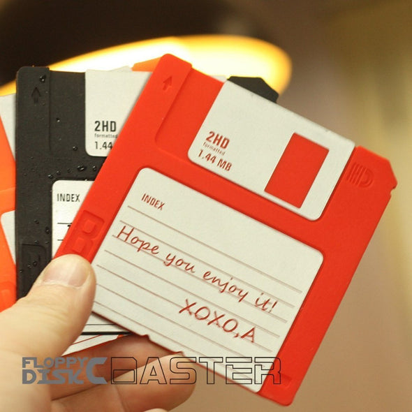 Floppy Disk Drink Coasters Set - Non-slip Retro Design