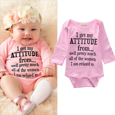 """I Get My ATTITUDE"" Long Sleeve Baby Jumpsuit"