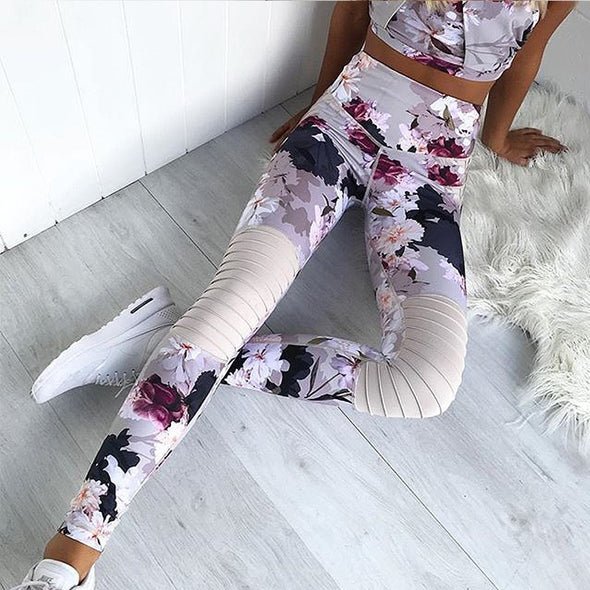 Kaia Print -  Splice Active Sport Leggings and Bra Set