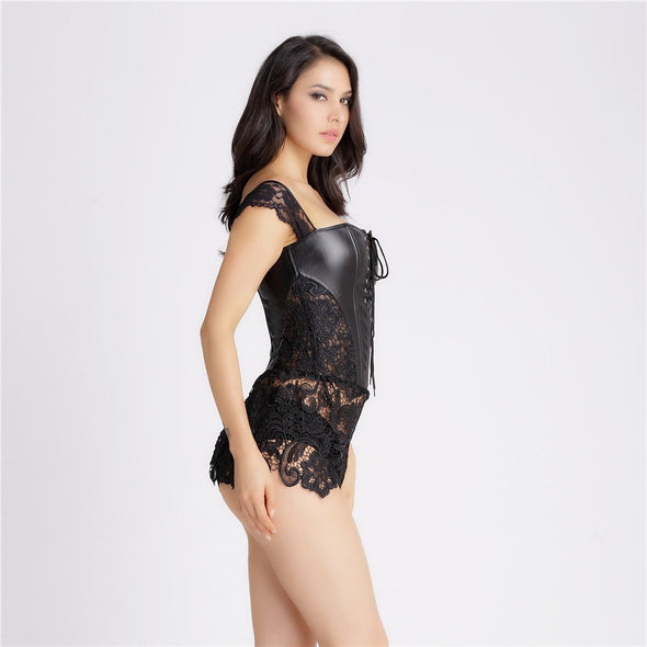 Black Vegan Leather And Lace Burlesque Corest