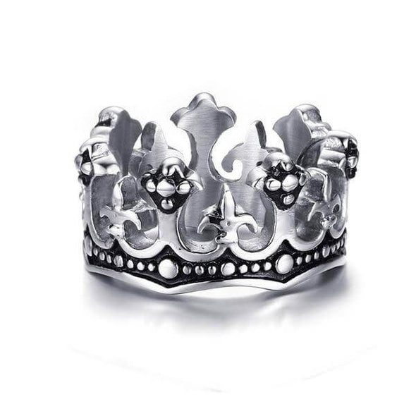 Rebel - Vintage Fleur De Lis Cross Crown Ring