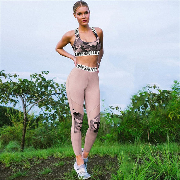 Cameo - Solid Camouflage Bra and Leggings Women Sports Wear