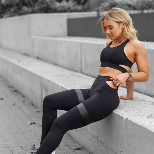 Sneeky - Sexy Cut out Active Wear Top + Leggings Gym Set