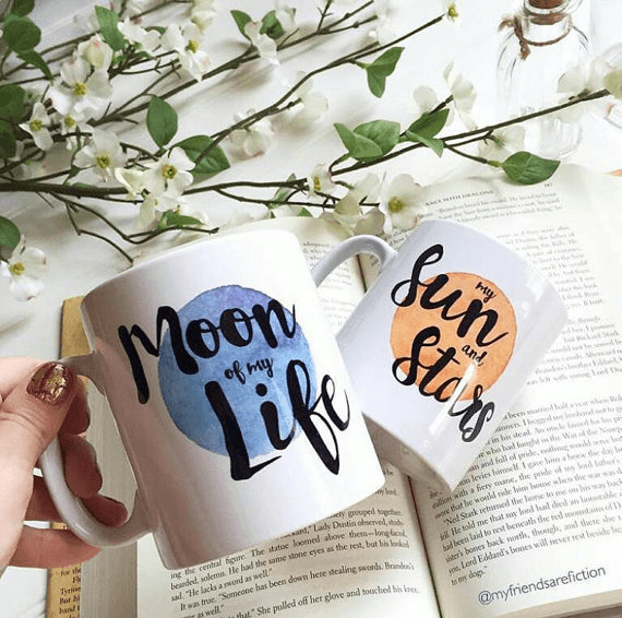 Khaleesi and Drogo themed mugs - Moon of my life