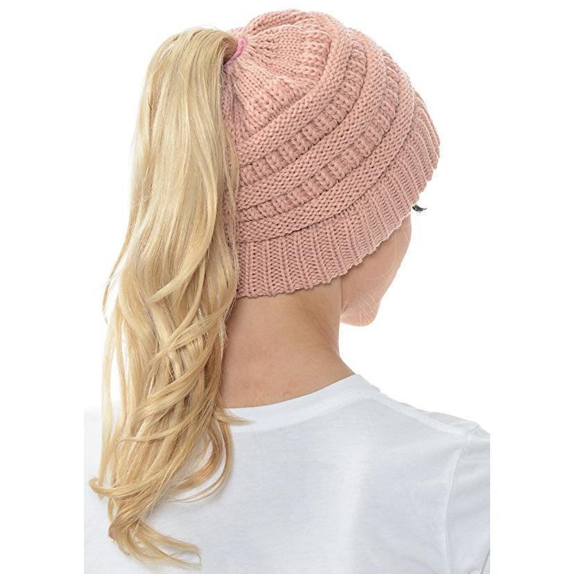 SWS BeanieTail Womens Ponytail Messy Bun Beanie - Style Well Spent a403aea07483