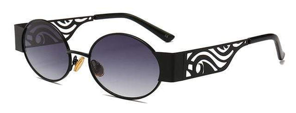 Fama - Metal Hollow Steampunk Oval Sunglasses