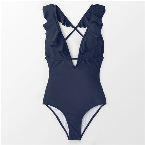SWS Heart Attack Ruffle V-neck One-piece Swimsuit