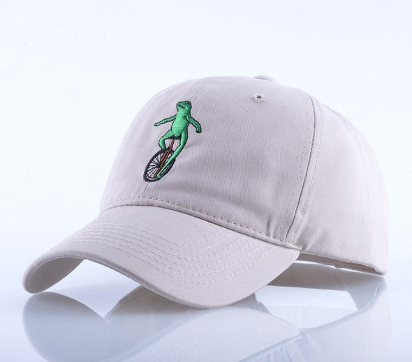 Frog on Bike Cap