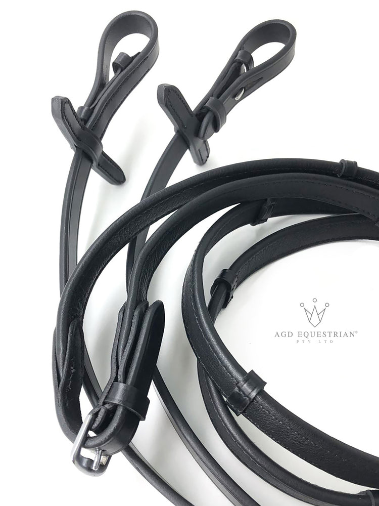 Flat Padded Reins | Black / Silver