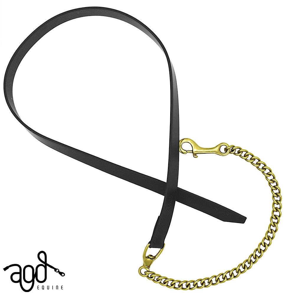 AGD Leather/Chain Lead | Black | Brass | 1.6m