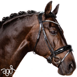 AGD ROLLED PERFECTION SNAFFLE | Black | Patent | PONY