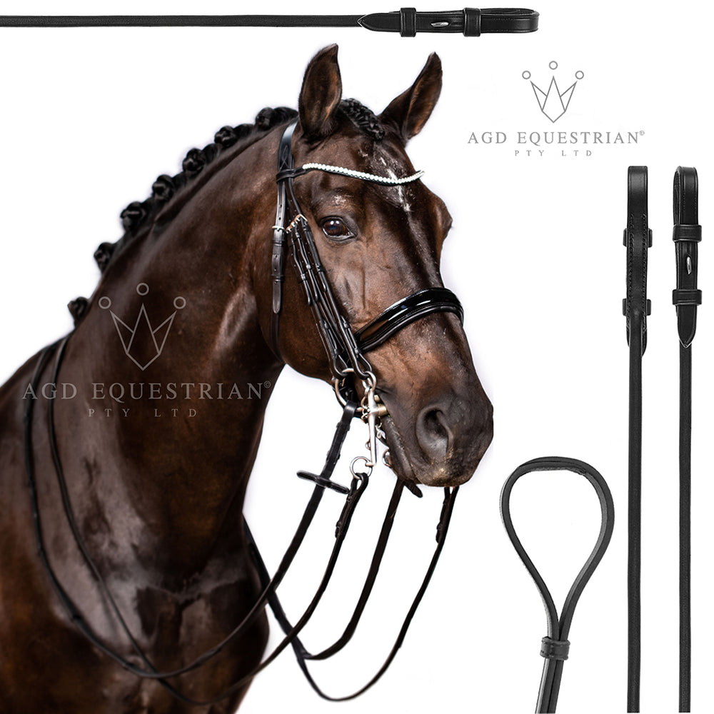 Weymouth Rein Set | Flat | Black | Silver