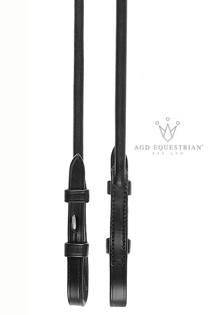 Alex's AGD ROLLED PERFECTION SNAFFLE & REINS | Black Patent - CAVESSON