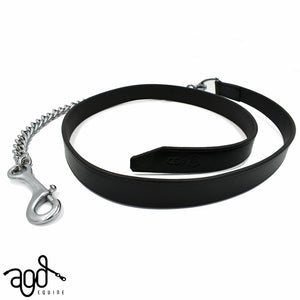 AGD Leather/Chain Lead | Black | Silver | 1.6m