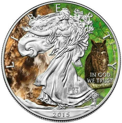 MINTAGE 100 PCS WITH COA. 2015 1 Oz SILVER EAGLE ANIMALS GREAT HORNED OWL