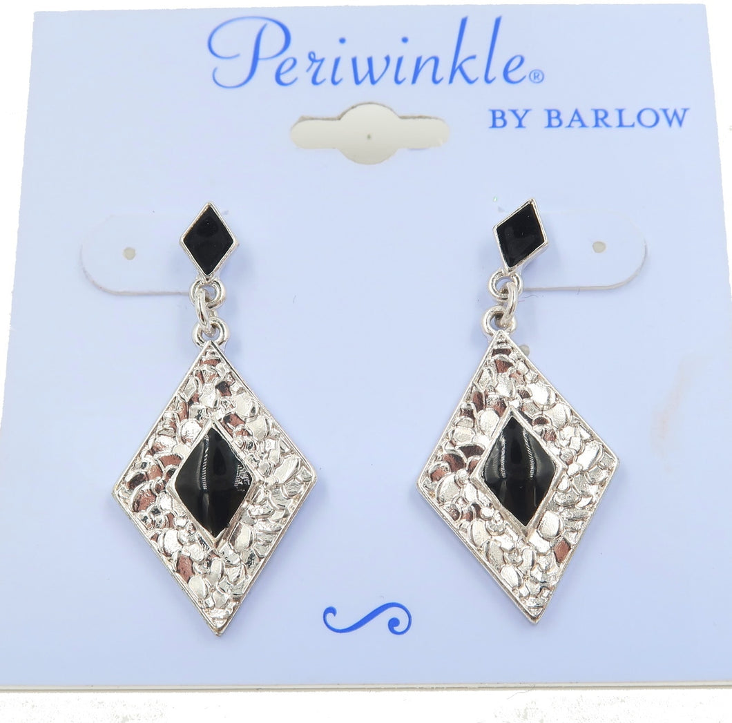 Black and Silver Diamond Shaped Onyx Earrings