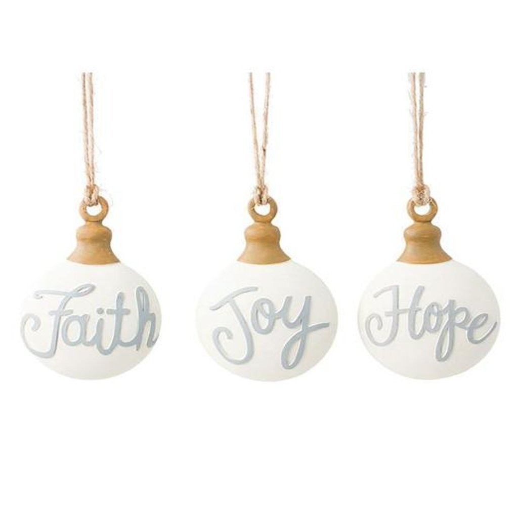 Faith Hope Joy Twine Ornaments