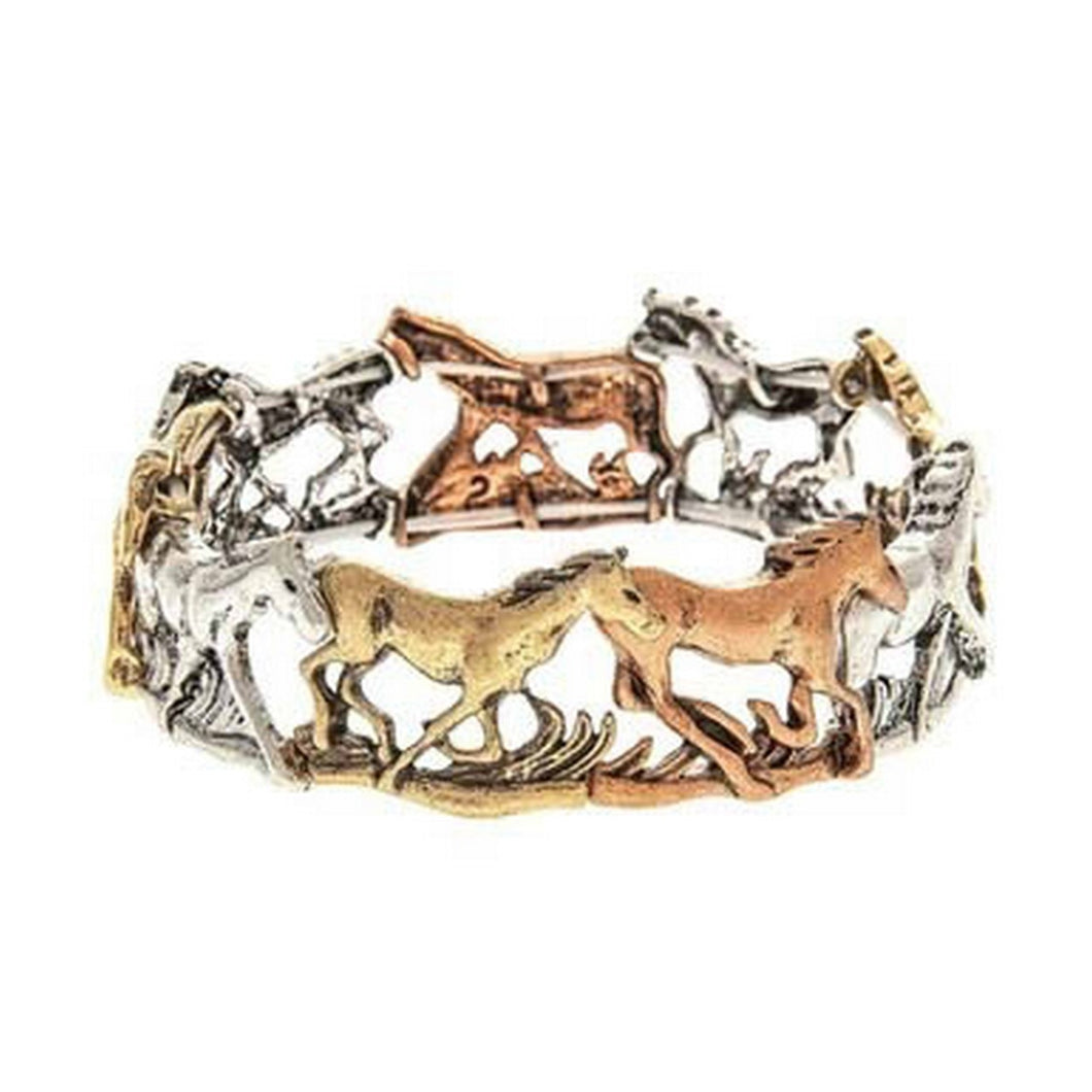 Multi Metal Galloping Horses Bracelet