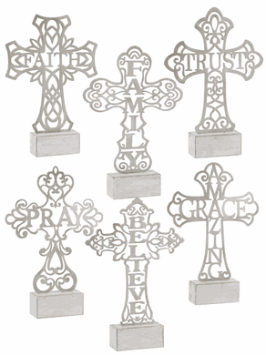 Filigree Cut Out Cross On Block