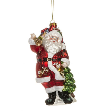 Santa With Bag And Tree Glass Ornament