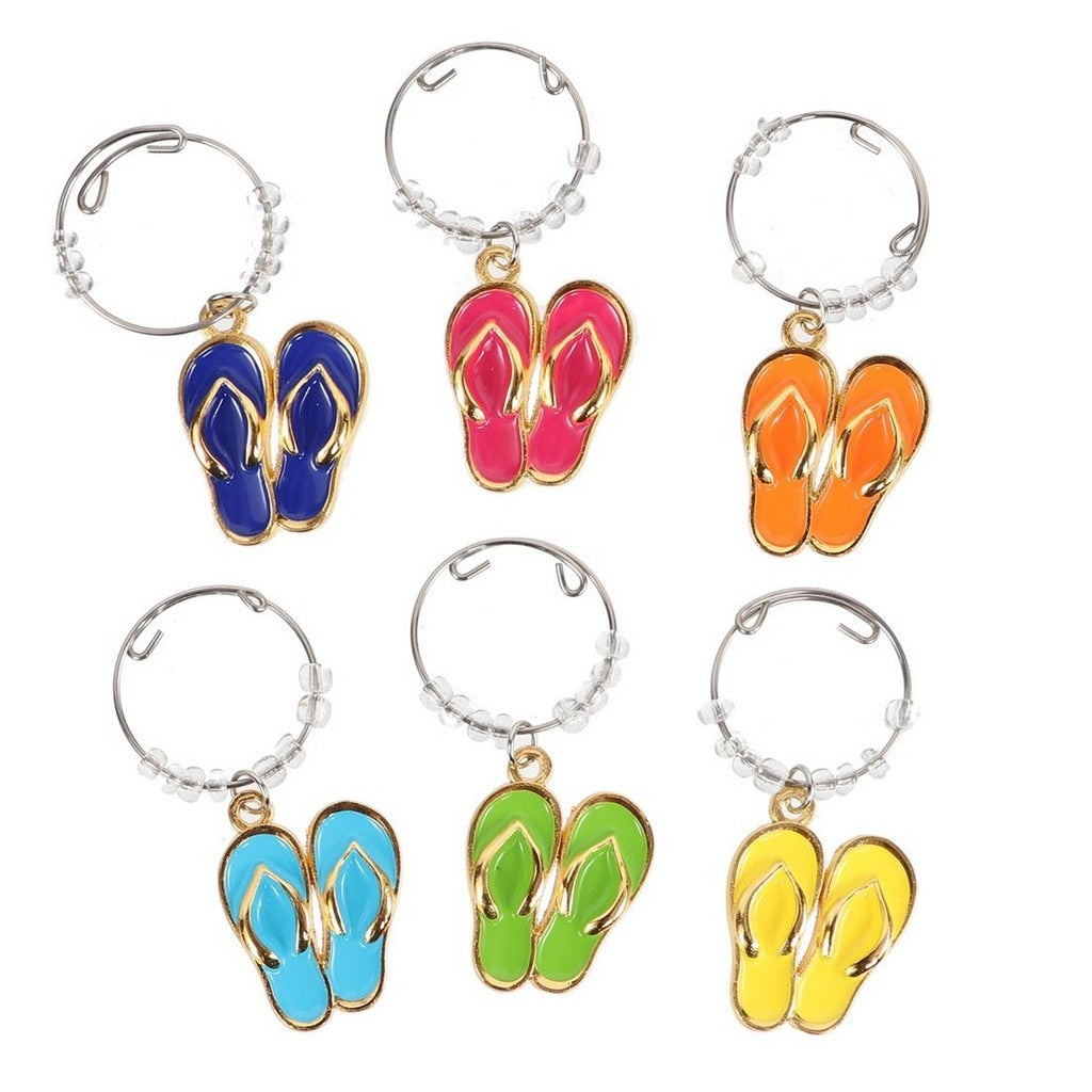 Flip Flop Wine Charm Set of 6