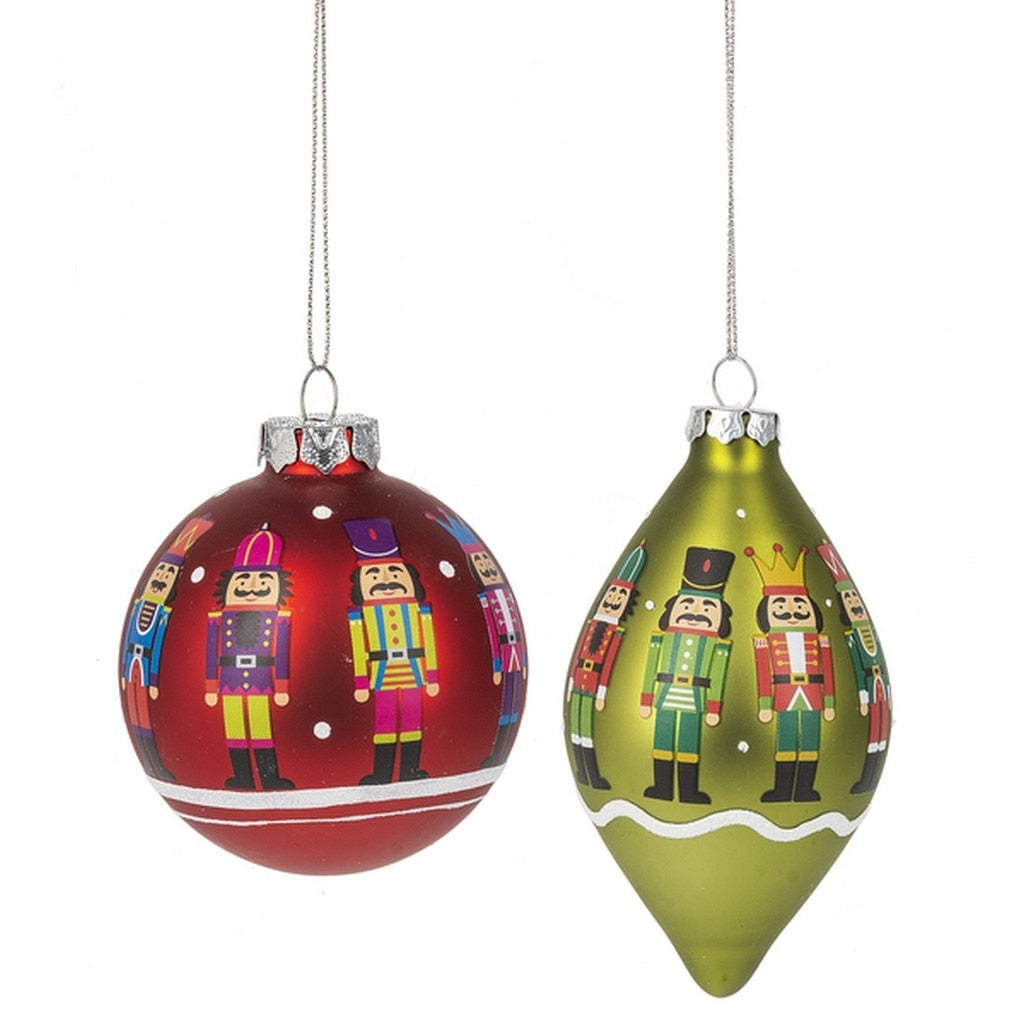 Red or Green Painted Nutcracker Ball Ornament