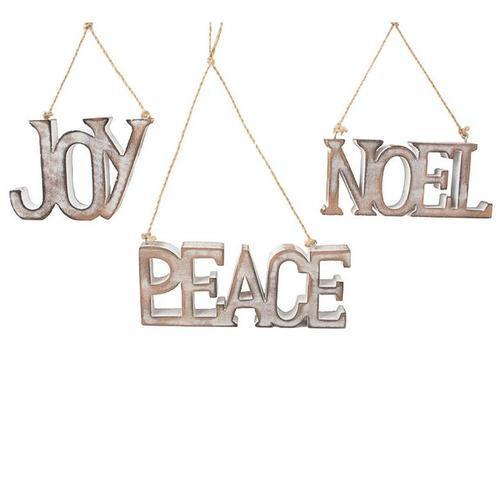 Peace Joy or Noel Washed Wood Ornament
