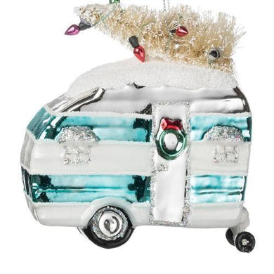 Glass Camper With Tree Ornament