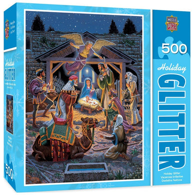 Holy Night - Nativity Scene 500 Piece Holiday Glitter Jigsaw Puzzle