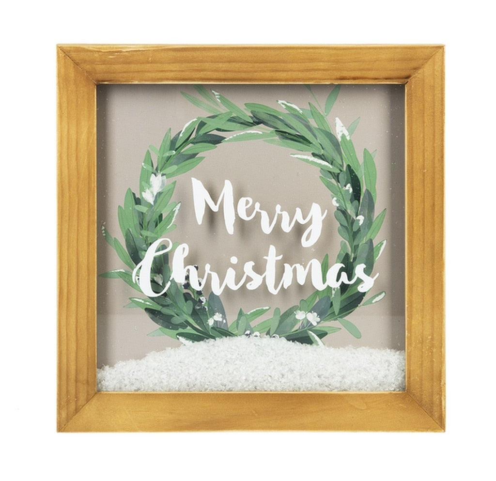 Merry Christmas Shadowbox With Snow