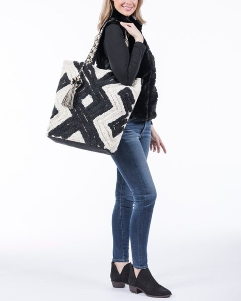 Black And Cream Rope Tote with Tassel