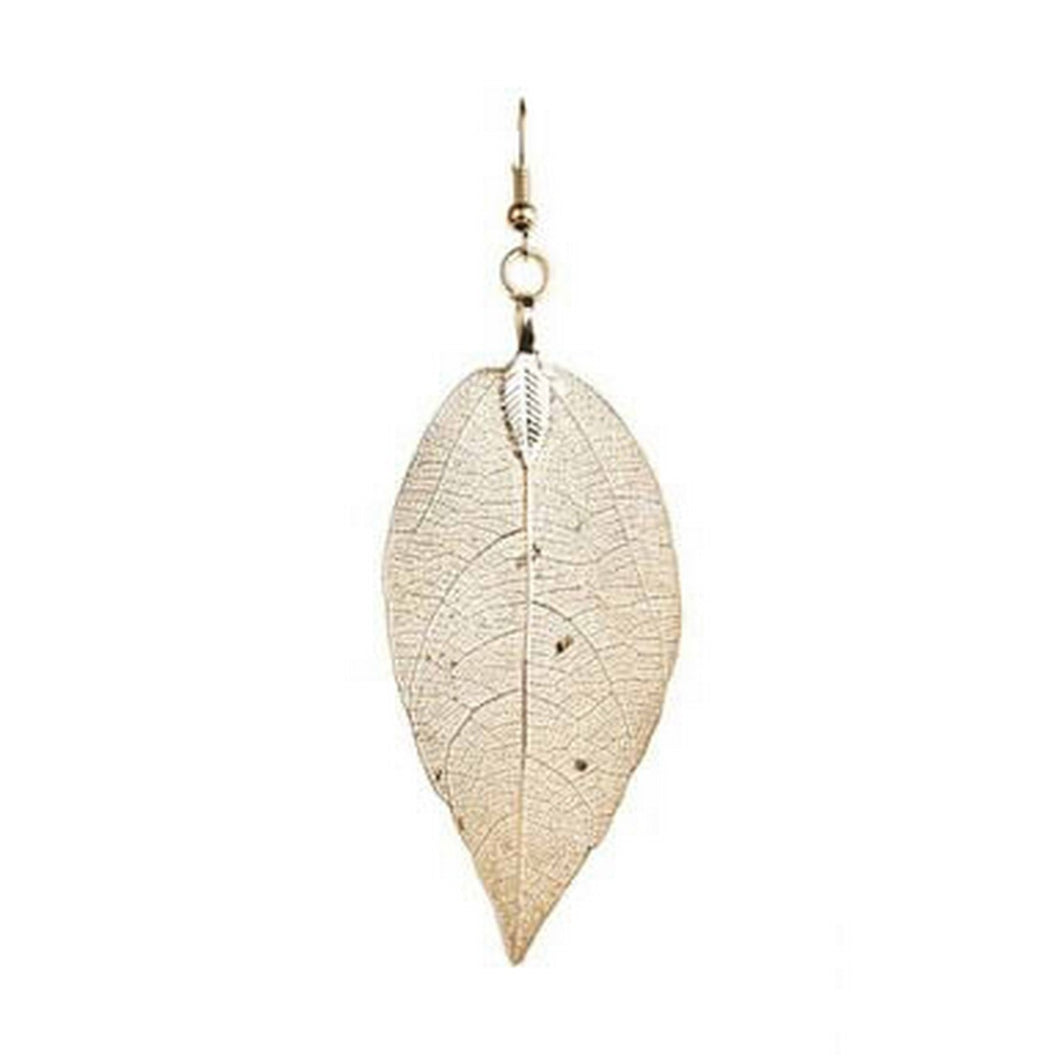 Gold Natural Leaf Earrings