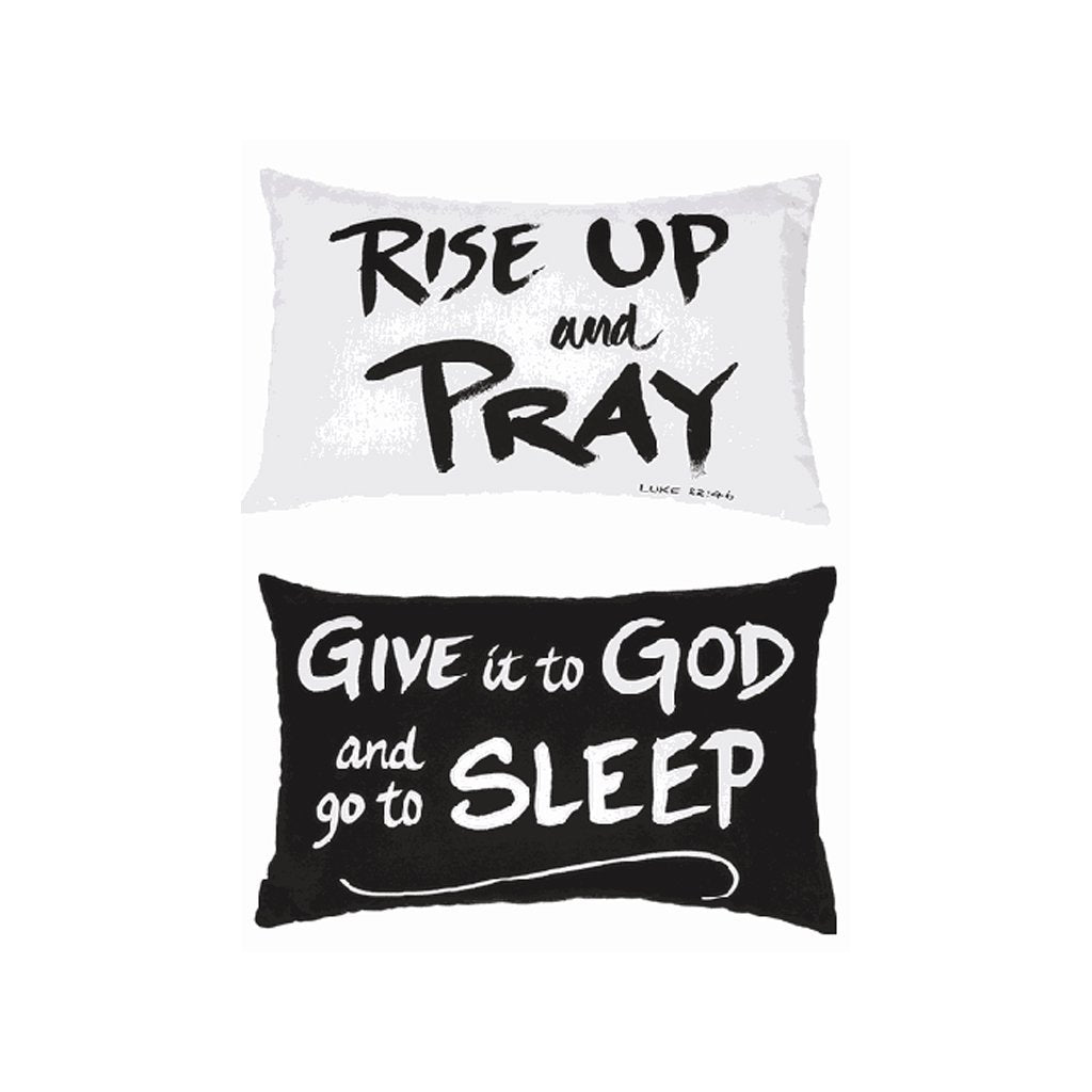 Black and White Religious Saying Pillow